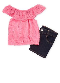 Girls 7-16 Off the Shoulder Crochet Top and Denim Shorts Set - 1610060990005
