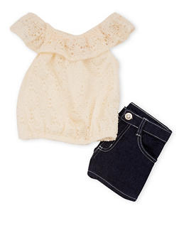 Girls 7-16 Off the Shoulder Crochet Top and Denim Shorts Set - 1610060990006
