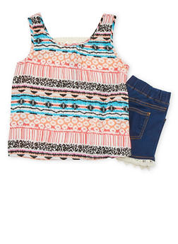 Girls 7-16 Limited Too Printed Top with Crochet Trim Shorts - 1610060990008