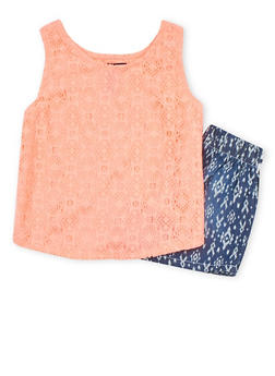 Girls 7-16 Limited Too Lace Tank Top with Crochet Denim Shorts - 1610060990010