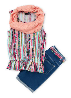Girls 7-16 Limited Too Printed Top with Bermuda Shorts and Infinity Scarf - 1610060990011