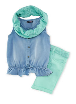 Girls 5-12 Limited Too Sleeveless Top with Shorts and Scarf Set - 1610060990012