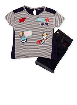 Girls 7-16 Limited Too Striped Graphic Top with Denim Shorts - 1610060990019