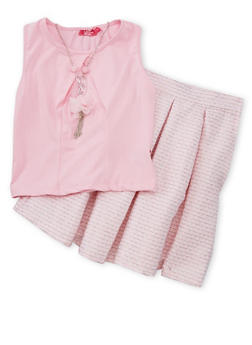 Girls 7-16 Sleeveless Solid Top with Pleated Skirt and Necklace - PINK - 1610073420001