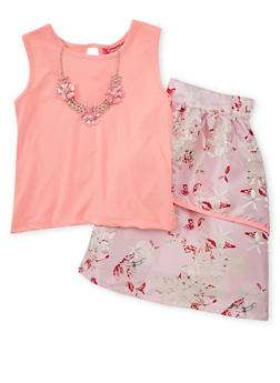 Girls 7-16 Solid Tank Top with Floral Skirt and Necklace - 1610073420002