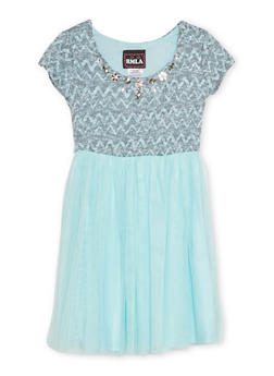 Girls 4-6x Jeweled Knit Dress with Tulle Skirt - 1614021280001