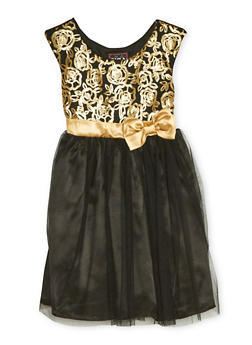 Girls 4-6x Sequin Dress with Tulle Skirt and Bow - 1614021280008