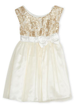 Girls 4-6x Sequin Dress with Tulle Skirt and Bow - 1614021280009