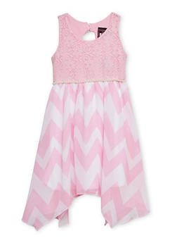 Girls 4-6x Sleeveless Lace Dress with Chevron Skirt - 1614021280011