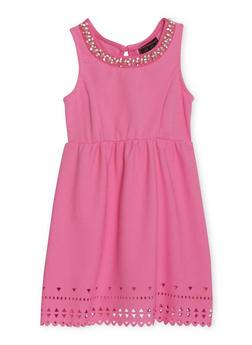 Girls 4-6x Textured Knit Jewel Neck Dress - 1614021280016