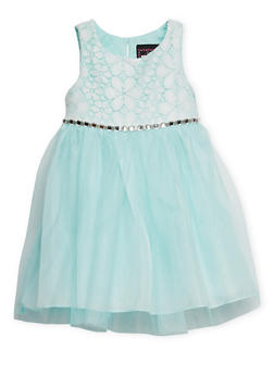 Girls 4-6x Sleeveless Lace Dress with Tulle Skirt and Jewel Trim - 1614021280017