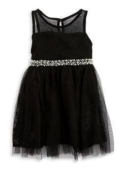 Girls 4-6x Mesh Dress with Beaded Waist Detail - 1614021280020
