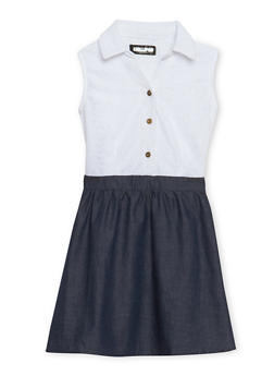 Girls 4-6x Lace Skater Dress with Chambray Skirt - 1614038340001