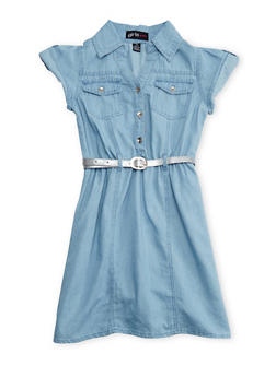 Girls 4-6X Short Sleeve Belted Chambray Dress - 1614038340004