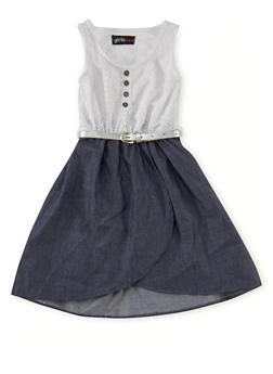 Girls 4-6x Sleeveless Lace Dress with Chambray Skirt and Belt - 1614038340005