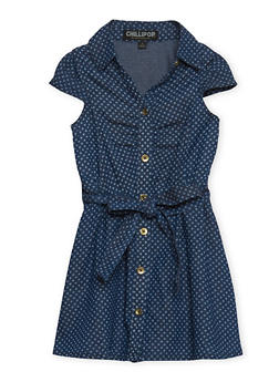 Girls 2T-6x Denim Shirt Dress with Belt - 1614038340007
