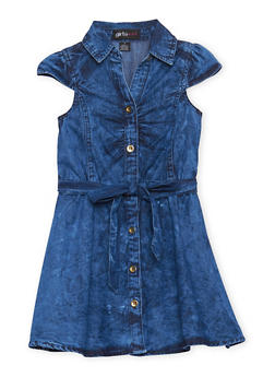 Girls 4-6x Denim Shirt Dress with Belt - 1614038340008