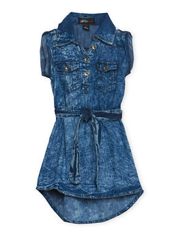 Girls 4-6x Acid Wash Denim Dress with Belt - 1614038340009