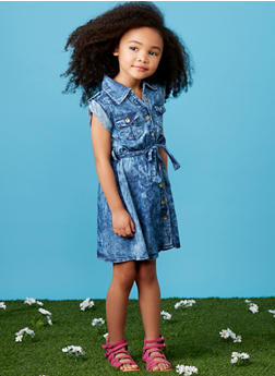 Girls 4-6x Denim Shirt Dress with Belt - 1614038340011