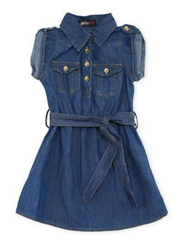 Girls 4-6x Denim Shirt Dress with Belt - 1614038340013