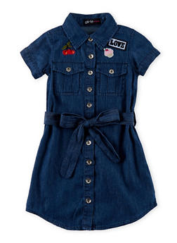 Girls 4-6x Button Up Denim Shirt Dress with Graphic Patches and Belt - 1614038340015