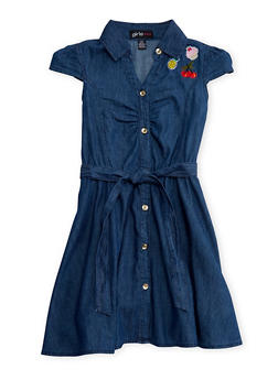 Girls 4-6X Belted Denim Shirt Dress with Patches - 1614038340019
