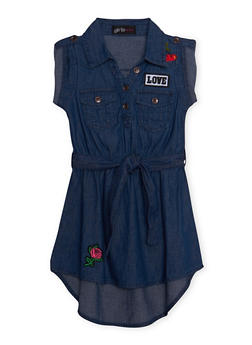 Girls 4-6x Denim Henley Shirt Dress - 1614038340021
