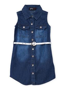 Girls 4-6x Belted Denim Button Front Shirt Dress - 1614038340022