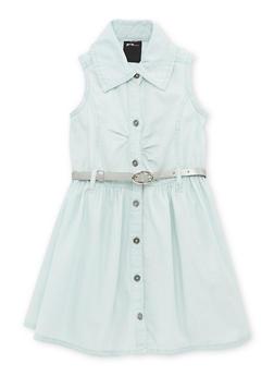 Girls 4-6x Denim Button Up Shirt Dress with Belt - 1614038340023