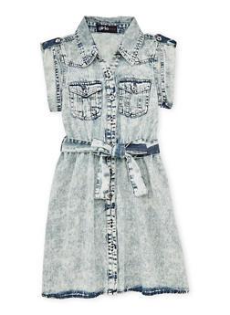 Girls 3T-6x Acid Wash Denim Shirt Dress with Tab Sleeve - 1614038340025