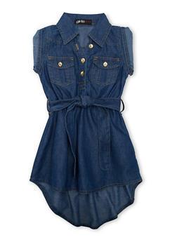 Girls 4-6x Denim Short Sleeve Belted High Low Shirt Dress - 1614038340026