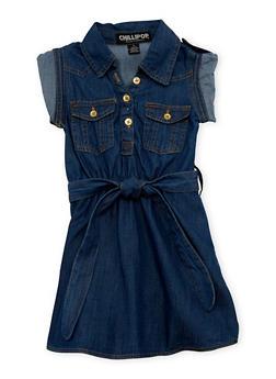 Girls 4-6x Belted Denim Shirt Dress - 1614038340031