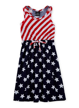 Girls 4-6x Americana Print Tank Dress - 1614038340032