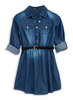 Girls 4-6x Belted Button Front Denim Dress - 1614038340041