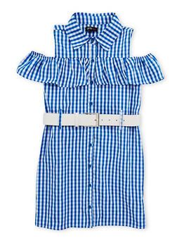 Girls 4-6x Gingham Print Belted Dress - 1614038340045