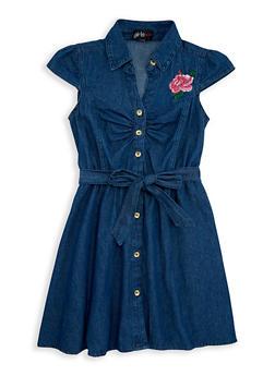 Girls 4-6x Rose Embroidered Belted Denim Dress - 1614038340058