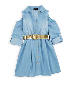 Girls 4-6x Denim Button Front Skater Dress - 1614038340063