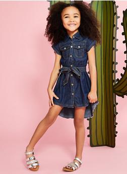 Girls 4-6x Denim Frayed Hem Shirt Dress - 1614038340065