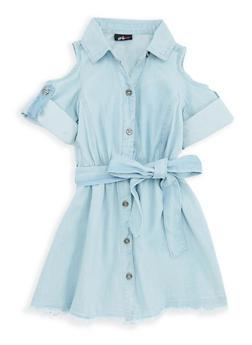 Girls 4-6x Cold Shoulder Belted Denim Dress - 1614038340067