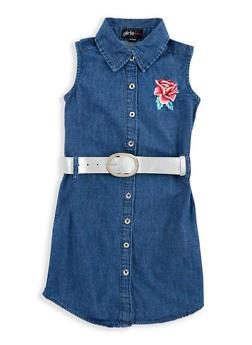 Girls 4-6x Belted Embroidered Denim Dress - 1614038340072