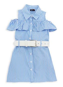 Girls 4-6x Striped Cold Shoulder Dress with Belt - 1614038340074