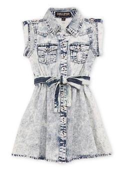 Girls 4-6x Belted Acid Wash Denim Shirt Dress - 1614038349808