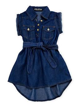 Girls 4-6x Belted Short Sleeve Denim Dress - 1614038349809
