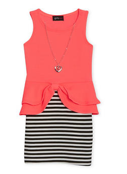 Girls 4-6x Sleeveless Striped Peplum Dress with Necklace - 1614051060008