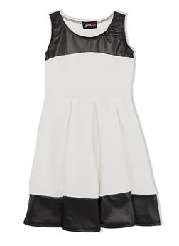 Girls 4-6x Pleated Skater Dress with Faux Leather Trim - 1614051060039
