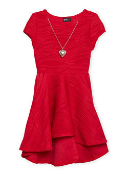 Girls 4-6x Skater Dress with Necklace - 1614051060043