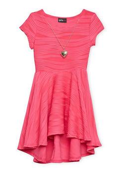 Girls 4-6x Skater Dress with Necklace - FUCHSIA - 1614051060044
