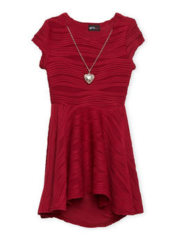 Girls 4-6x Skater Dress with Necklace - 1614051060044