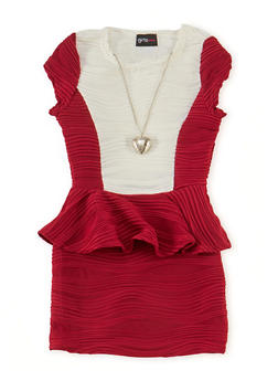 Girls 4-6x Color Block Peplum Dress with Necklace - 1614051060045