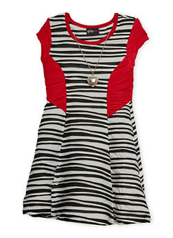Girls 4-6x Skater Dress with Necklace - 1614051060046